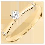 Anello di fidanzamento Giungla Sacra - diamante 0.09 carati - oro giallo 18 carati