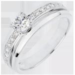 donna Anello di fidanzamento Solitario Destino - Mia Regina - modello grande - Oro Bianco - Diamante centrale -0.28 carati