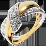 compra on-line Anello Doppio Nodo - Oro bianco e Oro giallo - 18 carati - 9 Diamanti