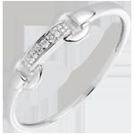 Anello Equestre - Oro bianco - 18 carati - 3 Diamanti