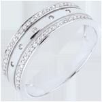 regalo donna Anello Fantasmagoria - COrona Stellare - modello grande - Oro bianco e Oro rosa - 18 carati - 55 Diamanti - 0.18 carati