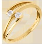 Anello Fascia - Tu & io - Oro giallo - 18 carati - Diamante - 0.15 carati