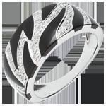 Anello Felino Selvaggio - Oro bianco - 18 carati - Lacca nera e 33 Diamanti - 0.14 carati