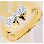 vendita on-line Anello Fiocco Amelie - Oro giallo e Oro bianco - 9 carati - 3 Diamanti
