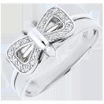 Anello Fiocco Coralie - Oro bianco - 9 carati - 16 Diamanti
