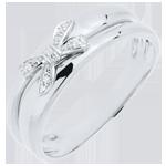 comprare on-line Anello Fiocco dell'Eden - Oro bianco - 9 carati - 5 Diamanti
