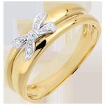 Anello Fiocco dell'Eden - Oro giallo - 9 carati - 5 Diamanti