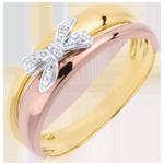 matrimonio Anello Fiocco dell'Eden - tre Ori - 9 carati - 5 Diamanti