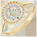 regalo uomo Anello Fior di Sale - Cerchio - Oro giallo - 9 carati - Diamanti