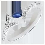gioiellerie Anello Foresta Misteriosa - modello piccolo - Oro bianco e Zaffiro navetta - 9 carati