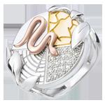 donna Anello Genesi - Spirito della Terra - Oro bianco e Oro giallo - 9 carati - Diamanti