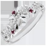 Anello Giardino Incantato - Fogliame Reale - Oro bianco, Diamante e Rodoliti - 9 Carati