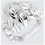 Anello Giardino Incantato - Rosa preziosa - Oro bianco - 18 carati - Diamanti