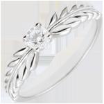 Anello Giardino Incantato - Solitario Fresia - Oro bianco - 18 carati - Diamante