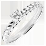Anello Giardino Incantato - Solitario Treccia - Oro bianco - 9 carati - Diamante