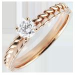 Anello Giardino Incantato - Solitario Treccia - Oro rosa - 18 carati - Diamante