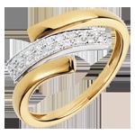 Anello Impronta felina - Oro giallo e Oro bianco - 18 carati - 18 Diamanti - 0.11 carati