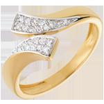 oreficeria Anello Nastro - Oro giallo e Oro bianco pavé - 18 carati - 24 Diamanti - 0.12 carati
