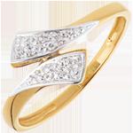 Anello Nastro - Oro giallo pavé - 18 carati - 10 Diamanti