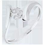 Anello Nido Prezioso - Pepita d'Amore - Oro bianco - 9 carati - Diamanti