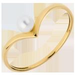 Anello Olga - Oro giallo - 18 carati - Perla bianca