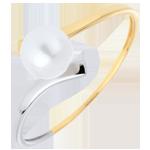 gioiello oro Anello Olympia - Oro bianco e Oro giallo - 18 carati - Perla bianca