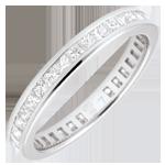 regalo donne Anello Oro bianco pavé - 18 carati - 36 Diamanti - incastonatura a binario - giro completo - 1.02 carati