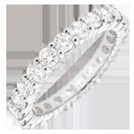 Anello oro bianco pavée - incastonato griffe - 2 carati - Cerchio completo