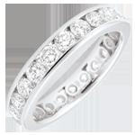 Anello oro bianco pavée - incastonato rotaia - 1.9 carati - 23 diamanti