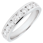 matrimonio Anello Oro bianco semi pavé - 18 carati - 10 Diamanti - incastonatura a binario - 0.67 carati