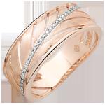 Anello Palma - oro rosa spazzolato 9 carati e diamanti