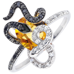 Anello Passeggiata Immaginaria- Gorgonia - Argento - Diamanti - 0.155 carati - Pietre dure