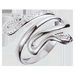 regali Anello Passeggiata Immaginaria - Minaccia Preziosa - oro bianco e diamanti - 9 carati