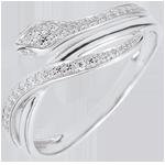 compra on-line Anello Passeggiata Immaginaria - Serpente Ammaliante - Oro bianco e Diamanti