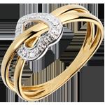 Anello Pianeta Amore - Oro bianco e Oro giallo - 18 carati - 3 Diamanti