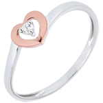 vendite on-line Anello Piccoli Cuori - Oro rosa e Oro bianco - 18 carati - Diamante