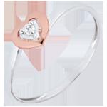 Anello Piccoli Cuori - Oro rosa e Oro bianco - 9 carati - Diamante