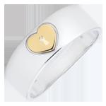 Anello Prezioso Segreto - Cuore - Oro giallo e Oro bianco - 9 carati