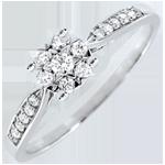 gioielli oro Anello Reale giunco sfera pavé - Oro bianco - 18 carati - 17 Diamanti - 0.18 carati - Diamante centrale - 0.12 carati