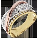 comprare on-line Anello Regale Saturno - 3 Ori - 18 carati - Diamanti - 0.41 carati