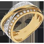 compra on-line Anello Regale Saturno variazione - Oro giallo e Oro bianco - 18 carati - Diamanti - 0.27 carati
