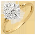 Anello Rombo pavé - Oro giallo - 18 carati - 16 Diamanti - 0.33 carati