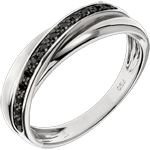 Anello Saturno Diamante - 13 diamanti neri e oro bianco - 9 carati