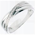 oreficeria Anello Saturno Duetto variazione - Oro bianco - 18 carati - 4 Diamanti