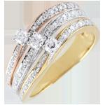 regalo donne Anello Saturno Grande Trilogia - 3 ori - 9 carati - Diamanti - 0.372 carati