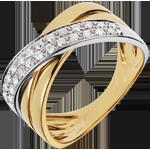 Anello Saturno largo - Oro giallo e Oro bianco - 18 carati - 26 Diamanti - 0.26 carati