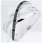 Anello Saturno Quadri - oro bianco - diamanti neri e bianchi - 9 carati