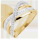 Anello Saturno Quadri - oro giallo - 18 carati.