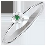 comprare on-line Anello Sboccio - Prima rosa - modello piccolo - Oro bianco e Smeraldo - 9 carati