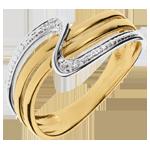 Anello Silenzio - Oro giallo e Oro bianco - 18 carati - 2 Diamanti